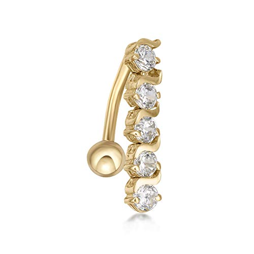 Lavari - 10K Yellow Gold Top Mount White Cubic Zirconia Belly Button Ring 16 Gauge 12MM ()