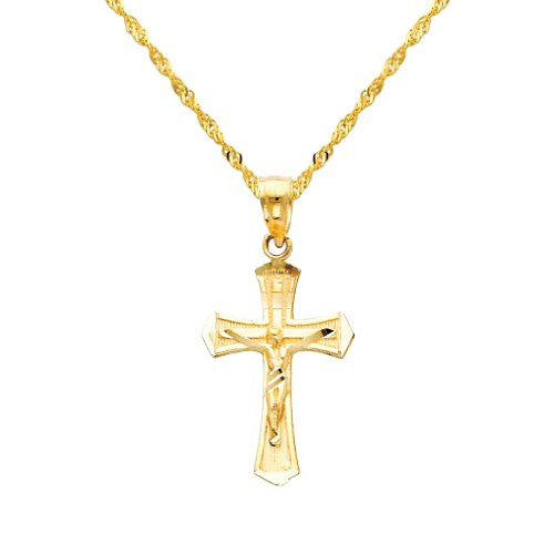 (The World Jewelry Center 14k Yellow Gold Jesus Cross Religious Pendant with 1.2mm Singapore Chain Necklace - 20