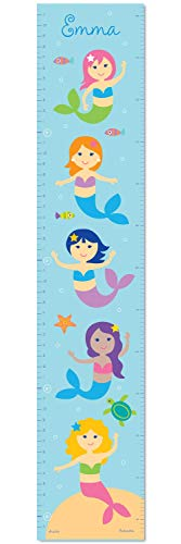 (Mermaids Personalized Wall Decal Growth Chart By Olive Kids)