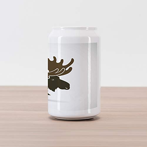 (Ambesonne Moose Cola Can Shape Piggy Bank, Deer Head Canadian Sacred Northern Wilderness Mammals Hunting Graphic, Ceramic Cola Shaped Coin Box Money Bank for Cash Saving, Green Brown Army Green)
