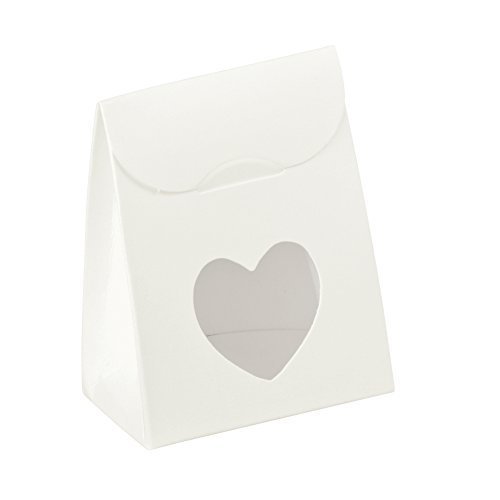 Decorative Gift Favor Box with Lid Heart Cutout, Set of 12, Best Designer Quality for Birthday, Wedding, Parties, Easy Fold, No Assembly Required, by Giovanni Grazielli, White (2.4 x 1.4 x 3.1 in)
