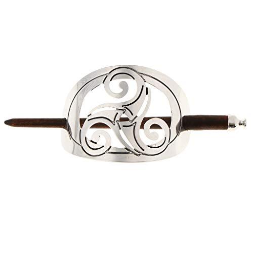 SM SunniMix Oval Arch Silver Grey Handmade Ponytail Holder Hair Updo Bun Cover Cap Hair Slide Pin Stick - 01 ()