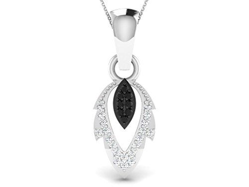 Or Blanc 9 ct Pendentifs Diamant en forme de Feuille, 0.12 Ct Diamant, GH-SI, 1.1 grammes.