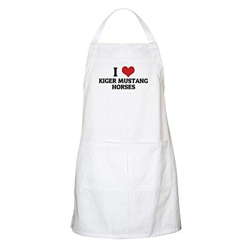 CafePress - I Love Kiger Mustang Horses BBQ Apron - Kitchen Apron with Pockets, Grilling Apron, Baking (Kiger Mustang Horse)