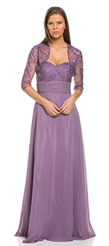 TwinMod Strapless Lace Embroidered Prom Bridesmaid Mob Dress With Jacket (12, Purple)