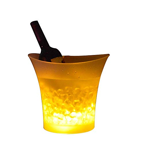 5L Glowing LED Ice Bucket Colour Changing Beer Wine Champagne Drinks Ice Cooler Bucket Bar Nightclub Party KTV Supplies, Yellow