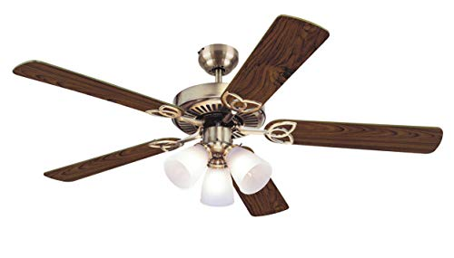 Westinghouse Lighting 7804265 Downrod Mount, 5 White Blades Ceiling fan with 60 watts light, Antique Brass