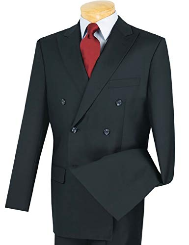 Solid Double Breasted 6 Button Classic-Fit Suit Navy Blue | Size: 44 Short / 38 Waist ()
