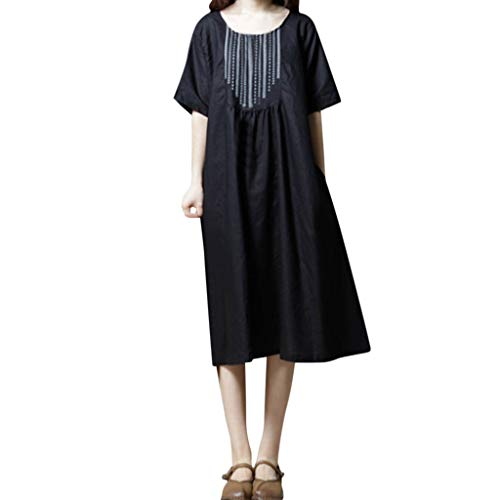 (Women's Cotton Linen Dress Loose Embroidery Flax Dresses Casual O-Neck Plus Size Linen Dress Pleated Summer Spring Midi Cotton Dress with Pockets Soft Breathable Boho Dresses )