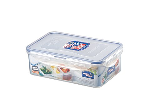 Lock & Lock Rectangular Storage Container with 3 Compartments - Clear/Blue, 1 L