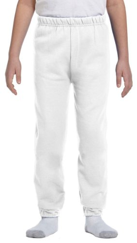Jerzees Youth 8 oz., 50/50 NuBlend Sweatpants, Large, WHITE (White Youth Sweatpant)