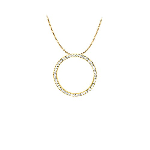 Diamonds Circle Pendant in 14K Yellow Gold 1.00 CT TDW