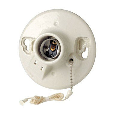 Leviton Not Available 9716-C One-Piece Glazed Porcelain Box Mount, Incandescent Lampholder, Pull Chain, 2 Outlet, Side Wired, 4.5