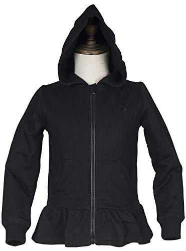 Holy Unicorn Little Girls' Cotton Long Sleeve Full-Zip Ruffle Bottom Jersey Hoodies with Pockets 6 Black