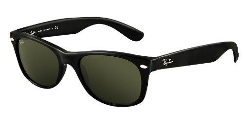 Ray Ban New Wayfarer Classic Black RB2132 901/52-18 Sunglasses Black Frame Crystal Green Solid - Ban Ray Wayfarer 18 52 New