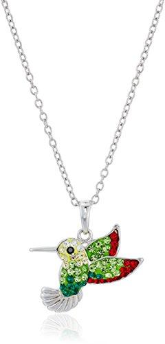 Pendant Hummingbird Sterling (Silver Plated Crystal Hummingbird Pendant Enhancer, 18
