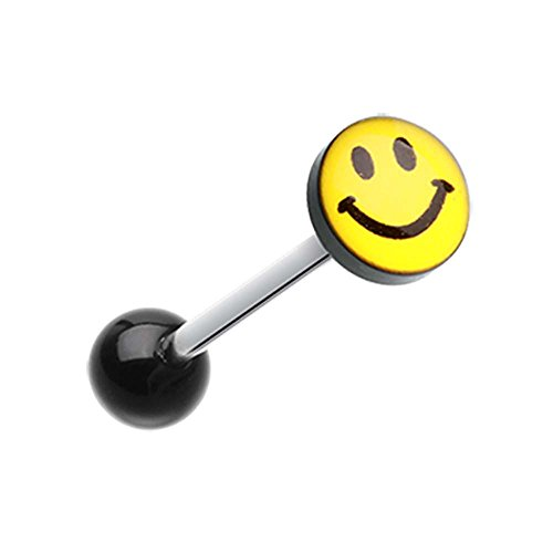 Smiley Face Logo Acrylic Barbell Tongue Ring - 14G (1.6mm) - Sold as a Pair