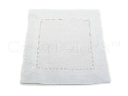 12 CleverDelights White 100% Cotton Hemstitch Cocktail Napkins - 6'' x 6'' Ladder Hemstitch Cloth Beverage Napkins - 100% Cotton 6 Inch Coaster by CleverDelights