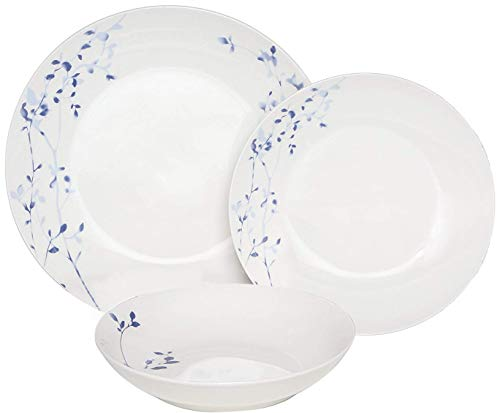 (Melange Coupe 36 Piece Porcelain Dinner Set | Indigo Garden Collection | Service for 12 | Microwave, Dishwasher & Oven Safe | Dinner Plate, Salad Plate, Soup Bowl & Mug (12 Each))