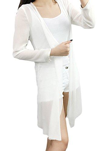 [モノジー] MONOZY レディース ロング カーディガン 長袖 薄手 ふんわり 透け感 シフォン ノーボタン ガウン