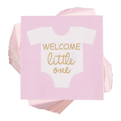 (Baby Shower Cocktail Napkins - 100 Pack Welcome Little One Disposable Paper Party Napkins, Perfect for Girl Baby Shower Decorations and Gender Reveal Party Supplies, 5 x 5 inches Folded,)