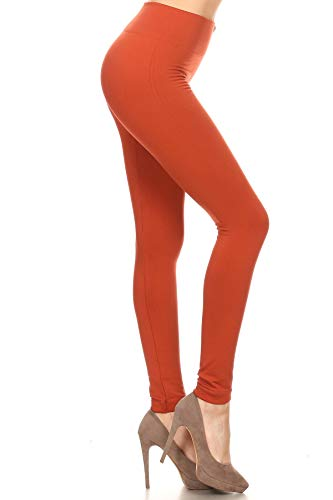 - Leggings Depot Women's Popular REG/Plus Premium Warm Fleece Lined Leggings Tights Pants (Plus Size (Size 12-24), Rust)