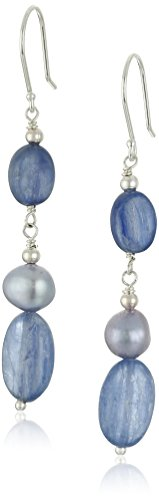 Kyanite Ovals with Blue Denim Dyed Freshwater Cultured Pearl Accents Drop Earrings