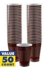 Bulk Plastic Cups | 50ct (16oz, Chocolate -