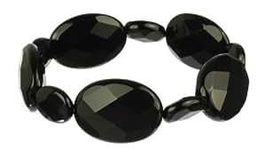 "Black Onyx Faceted Flat Oval Bead Stretch Bracelet, 7.5"""