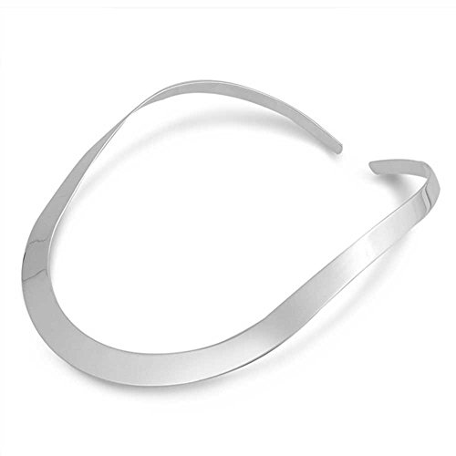 12mm Wide Thick Sterling Silver High Clean Polish ''C'' Curve Collar Choker by The Ice Empire Jewelry, LLC