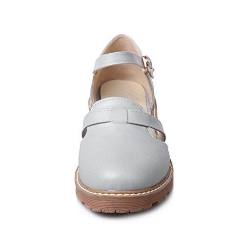 Mujer de Ancho Zapatos RAZAMAZA con Gray Hebilla Para Tacon 0gA0wx