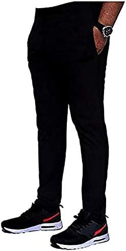 2MGL Regular Fit Men Black Cotton 4-Ways Blend Sports Track Pants Trouser