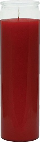 "INDIO 7 Day Glass Plain Color Glass Candles 8"" Tall - Red"