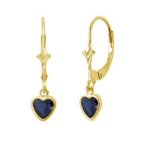 14K Gold Fleur De-Lis Lever Back Earrings with Dangling 5x5mm Heart Shaped Simulated Birthstone - Created Sapphire