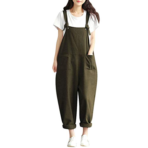 Tantisy ♣↭♣ Women's Baggy Overalls Jumpsuits Casual Wide Leg Bib Pants Plus Size Rompers Cotton Linen Suspender Rompers Army Green