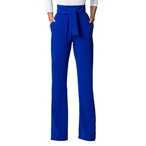 GUOLEZEEV Women's Straight Fit High Waist Palazzo Wide Leg Trouser Pants Blue XL