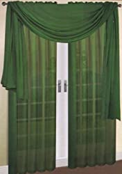 """Empire Home Solid Hunter Green Sheer Voile Scarf Valance 216"""" Long Scarves"""