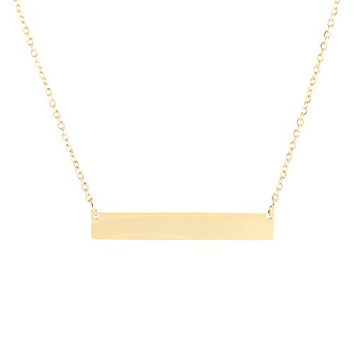 """Necklace Kathys Heart - Tina&Co Stainless Steel Bar Necklace Engravable with 16""""17""""18"""" Adjusted Chain Horizontal Bar Pendant Necklace Engravable Gold Blank No Engraved"""