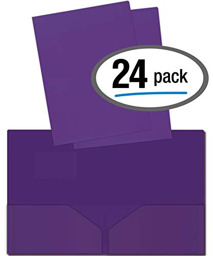 (Heavyweight Plastic 2 Pocket Portfolio Folder, Letter Size Poly Folders by Better Office Products, 24 Pack (Purple))