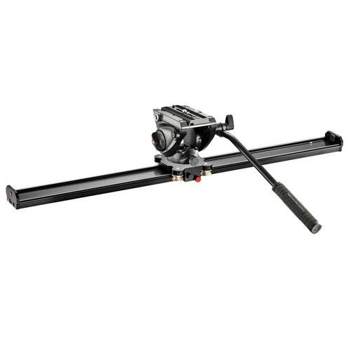 Manfrotto MVS100A Camera Slider 100cm - Bundle With Manfrotto MVH500AH Professional Fluid Video Head with Flat Base by Manfrotto