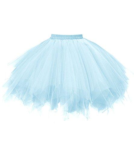 Dresstore Women's Short Vintage Petticoat Skirt Ballet Bubble Tutu Multi-colored Light Blue L/XL