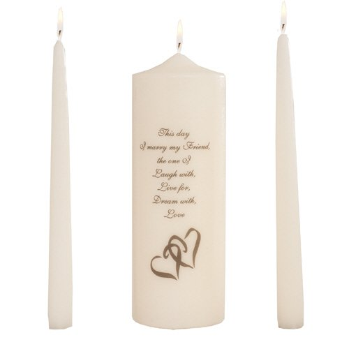 Celebration Candles Wedding Unity 9-Inch This Day I Marry My Friend Pillar Candle with Double Heart Motif and 10-Inch Taper Candle Set, Ivory by Celebration Candles