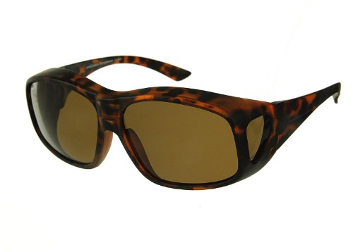 - Lenscovers Wear Over Prescription Glasses Sunglasses for Men and Women Large Size (Faux Tortoise) Polarized!