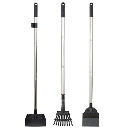 (Yangbaga Metal Pet Poop Tray and Rake, 2 Rakes with Adjustable Length, 33.8'' Long Handle Dog Waste Pooper Scooper)