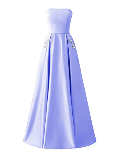 Back Beaded Lace Prom Pockets Libaosha Satin Formal Long Dresses up Lavender Gowns Strapless SnqzIw8BwH