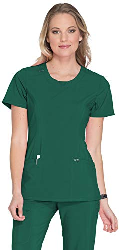 Cherokee Women's Infinity Crew Neck Scrubs Shirt, Hunter Green, X-Small