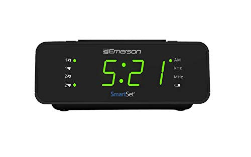 Emerson SmartSet Alarm Clock Radio with AM/FM Radio, Dimmer, Sleep Timer and .9 LED Display, CKS1900
