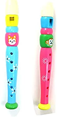 Colorful 2 Pack 6-HolePlastic Piccolo Flute Recorder Music&Sound Toy for Kids Toddlers Learning Educationa