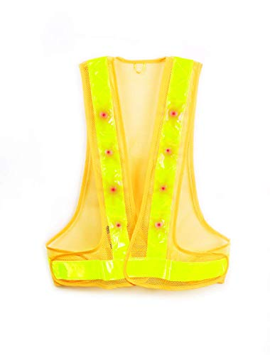 Maxsa 20026 Yellow Large Reflective Safety Vest with 16 LED Lights (Vests Lights Safety)