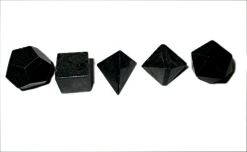 Price comparison product image Lovely Jet Black Tourmaline Sacred Geometry Sets 5 Stone Platonic Solid Top Grade Quality Merkaba Star w / Velvet Pouch Attractive Cleansing Life Vitality Healing Chakra Balancing DNA Energy Grid Activation Past Life Meditation Dream Work Knowledge Progress Prosperity Success Love